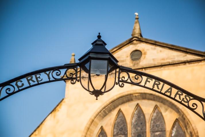 Greyfriars Kirk wrought iron signage gate.