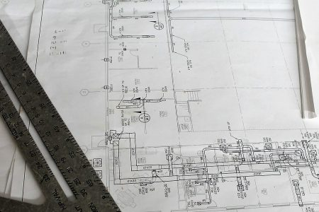 a view of building plans in black and white