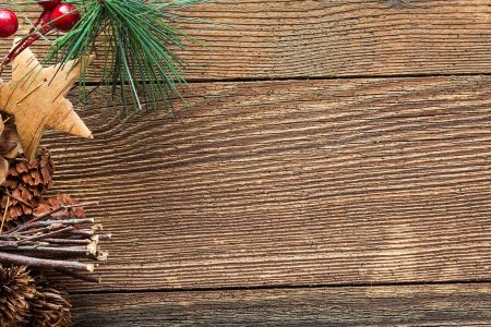 a view of a wooden board with Christmas elements
