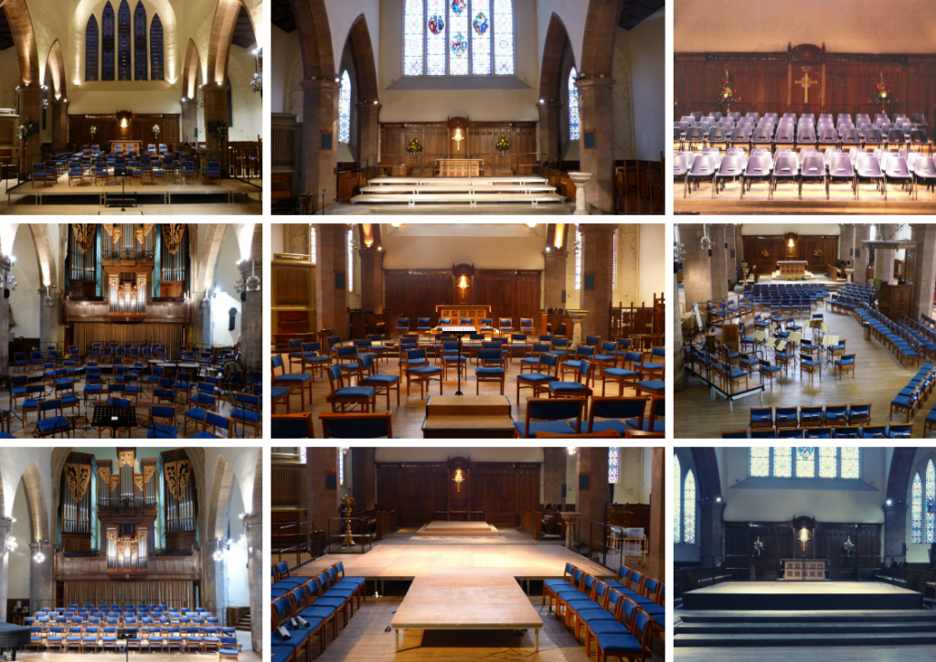 view of different layouts for concerts at Greyfriars Kirk