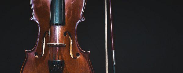 view of a violin close up