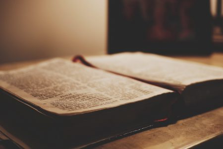 view of a bible open on a table