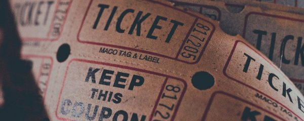 view of tickets to a film screening