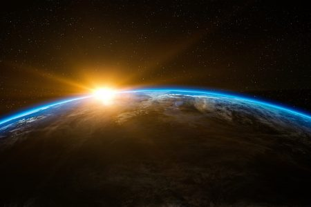 a view of sunrise over the earth (header)